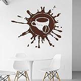 wZUN Taza de café calcomanía de Pared Tiempo de Descanso café en Grano café Restaurante calcomanía Vinilo Etiqueta de la Pared 63X75cm