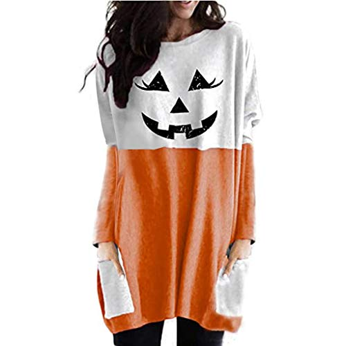 YAnGSale Top Women s Halloween Clothes Decorations Costume Lantern Ghost Pumpkin Shirt Long Tops Blouse Mini Dress (Orange, XXL)