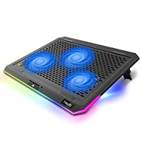 【High Speed Quiet Fan】Havit laptop Cooling Pad is with three 1100 RPM high-speed fans, provides more effective cooling effect than other 750RPM cooler. It's super quiet and you don't even feel any blowing of the fans to keep your laptop cool. 【Metal ...