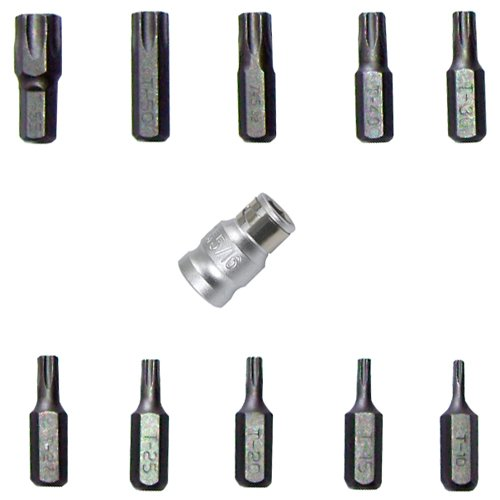 """Spezial Bit/Bitsätze Schraubenschlüssel TORX®T-Profil 3/8""""-Antrieb inkl. Adapter mit T10 15 20 25 27 30 40 45 50 55 / Bit-Satz für Außen TORX®-Schrauben, 11-tlg."""