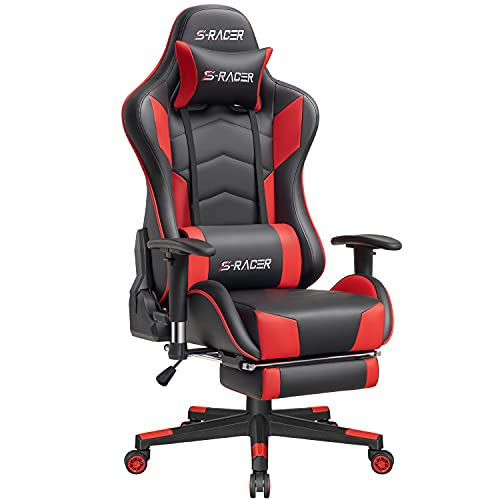 Homall Luxury Gaming Chair Ergonomic Computer Chair with Footrest Racing Style Game Chair Large Heavy Adjustable PC Office Chair with Headrest and Lumbar Support (Red)