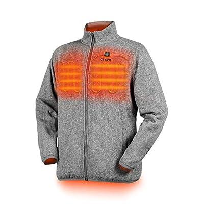 ORORO Men's Heated Fleece Jacket Full Zip with Battery Pack (Grey, L)