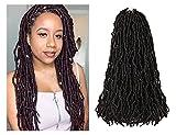 Niseyo New Faux Locs Crochet Hair 18 Inch 6 Packs Pre-looped Soft Locs Crochet Braids (18 Inch, 1B)