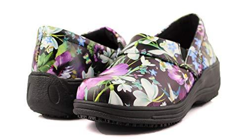 Laforst Rachel 7003 Womens Leather Slip Resistant Server Waitress Slip On Clog Purple Flower 7.5
