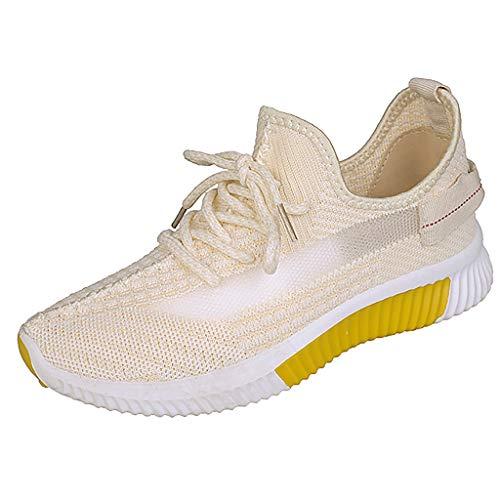 DAIFINEY Damen Sneaker Sportlicher Schnürer Leichte Modische Turnschuhe Sportschuhe Schüler Freizeit Atmungsaktiv Laufschuhe Outdoor Schuhe Slip On Bequeme Sohlen(Gelb/Yellow,37)