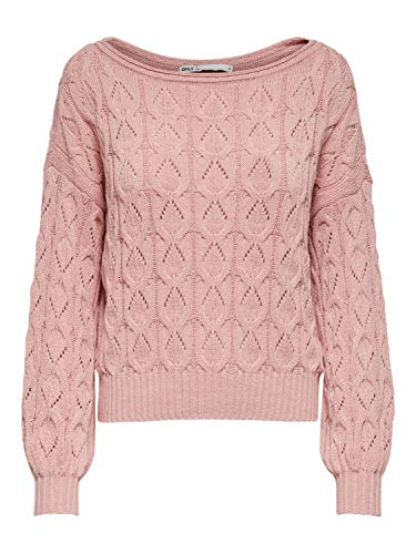 ONLY Damen ONLFBRYNN L/S Structure CC KNT Pullover, Rose Smoke, M