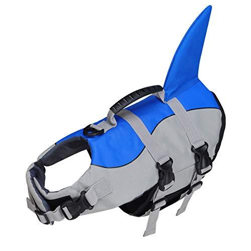 Hundeschwimmweste, Schwimmweste für Hunde, Rettungsgerät, Haustierlebensretter, Rettungsschwimmer, Badeanzug mit verstellbarem Gurt und Rettungsgriff (S)