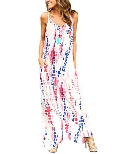 YOINS Sommerkleid Damen Lang Maxikleider für Damen Strandkleid Sexy Kleid Kurzarm Jerseykleider Strickkleider Rundhals mit Gürtel Langarm,EU44/L,Regenbogen