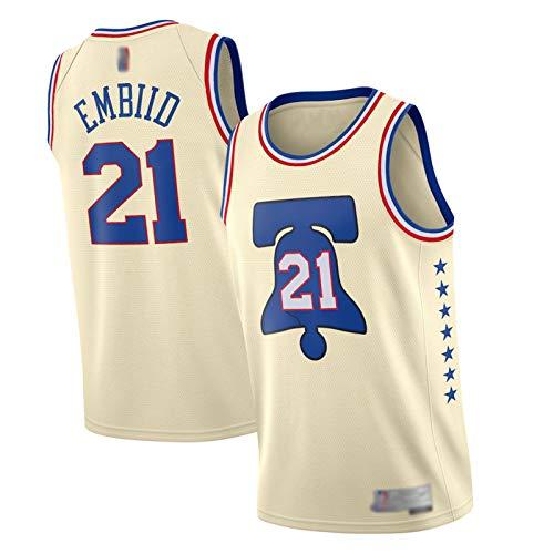 XIAOXU Camiseta De Baloncesto Embiid para Hombre Camiseta De Baloncesto para Hombre Simmons 2021 Temporada 76ers # 21# 25, Camiseta Deportiva Unisex Cosida Superior S-2XL S-Embiid#21