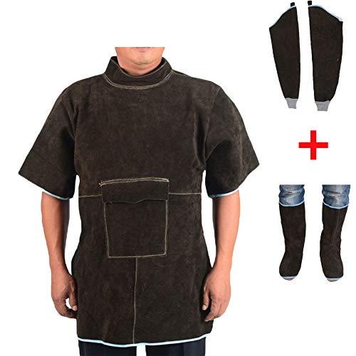 NXLWXN Tablier De Soudure Anti-Flamme Cuir De Vache Manteau Long Vêtements De Protection Habillement Soupleur Cuir Supplémentaire Protection,Marron,XXL
