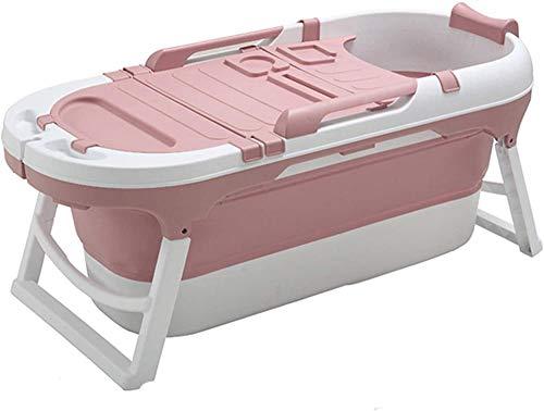 CDFC Bañera plegable adultos portátil niños s bañera de plástico grande bebé bañera para ducha adulto independiente bañera niño 141x63x58cm azul-rosa
