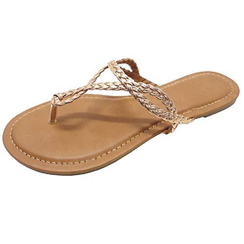 Wild Diva Womens Flip Flops, Easy Braided Thong Flat Sandals for Summer (8.5, Rose Gold)