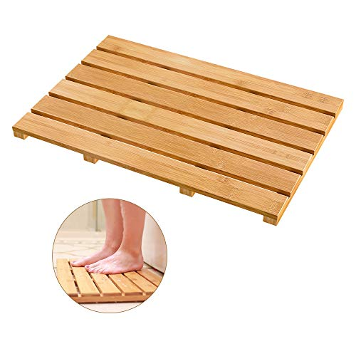 Bath Mat for Luxury Shower - Non-Slip Bamboo Sturdy Water Proof Bathroom Carpet for Indoor or Outdoor Use