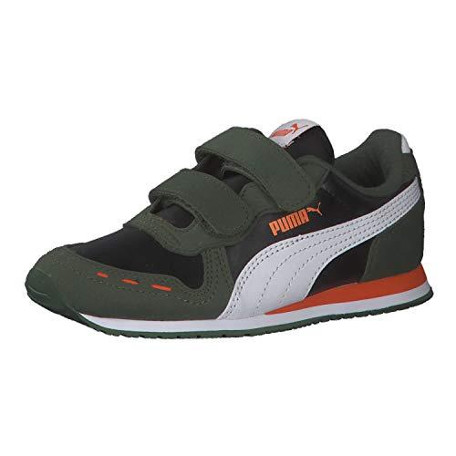 PUMA Unisex-Kinder Cabana Racer Sl V Ps Sneaker, Black White-Dragon Fire, 32 EU