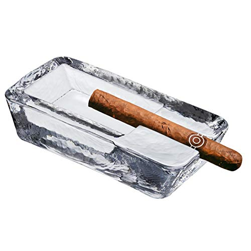 Pasabahce Crystal Glass Heavy Cigar Ashtray for Patio 7 inch Length XLarge, 2.57 Lbs, Large Handmade, Cool Ash-Tray Luxury Outdoor Indoor Home Office Hotel Pool Restaurant