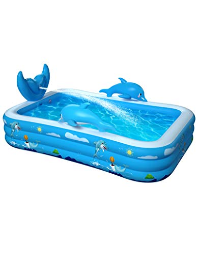 """Inflatable Pool for Kids Family Oxsaml 98"""" x 71"""" x 22 """" Kiddie Pool with Splash, Swimming Pools Above Ground, Backyard, Garden, Summer Water Party"""