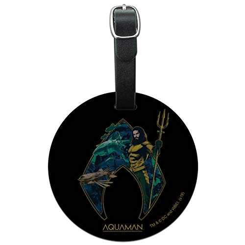 Aquaman Movie Atlantis Logo Round Leather Luggage Card Suitcase Carry-On ID Tag