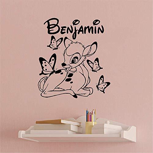 Wandaufkleber Kinderzimmer Wandtattoo Kinderzimmer Individuell angefertigte personalisierte Bambi und Schmetterling personalisierte Namen Kinderzimmer