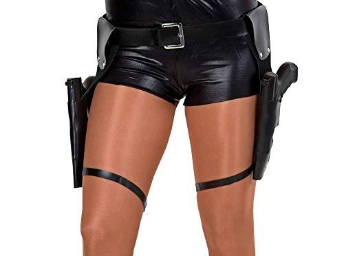 shoperama Pistolen-Gürtel inkl. 2 Waffen Zwillingsholster Doppelholster Halfter Cop SWAT Lara Croft Polizist Gangster Kostüm-Zubehör