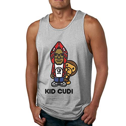 DJNGN Camiseta de algodón para Hombre, Camiseta sin Mangas para Gimnasio, Fitness, Chico, Cudi, Papel Tapiz, sin Mangas, Camiseta sin Mangas