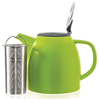 Tealyra - Drago Ceramic Teapot Lime - 37-ounce (4-6 cups) - Large Stylish Teapot - Stainless Steel Lid Extra-Fine Infuser To Brew Loose Leaf Tea - Leed-Free - 1100ml