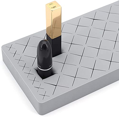 CO Caja de Almacenamiento de cosméticos, Soporte para lápiz Labial, 36 Compartimentos, Silicona。 (Gris )