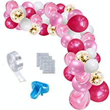 70 Pieces Balloon Garland Arch Kit, Balloon Arch Supplies Including Rose Red White Confetti Agate Balloon Decorations Backdrop for Wedding, Birthday Party, Baby Shower Theme Decorations