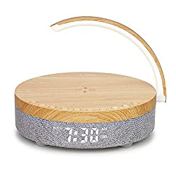 LEMEGA DTS2 Bedside Lamp with Wireless Charger,LED Night Light,Portable FM/Bluetooth Radio,Sound Machine,Alarms Clock,Built-in Battery,Dimmable Table Eye-Caring Reading Light for Bedroom/Office/Dorm
