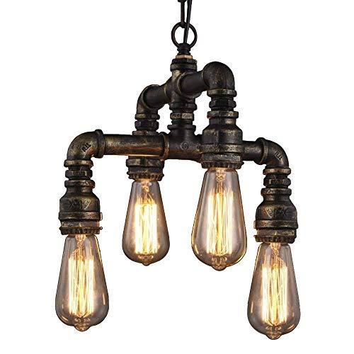 LKK-KK 4-luces colgantes del accesorio del techo de la lámpara pendiente de la iluminación Iluminación Forja de Steampunk del tubo de agua retro Loft Colgante accesorio de la lámpara de la vendimia In