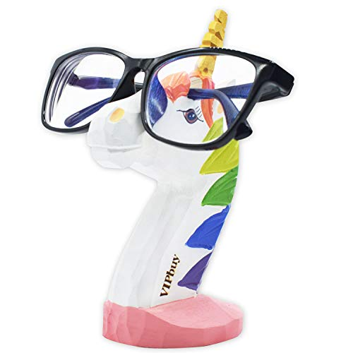VIPbuy Handgeschnitzter Holz-Brillenhalter für Brillen, Sonnenbrillen, Ständer, Tierform, Heimbüro, Schreibtisch, Dekoration, Geschenk (Einhorn)