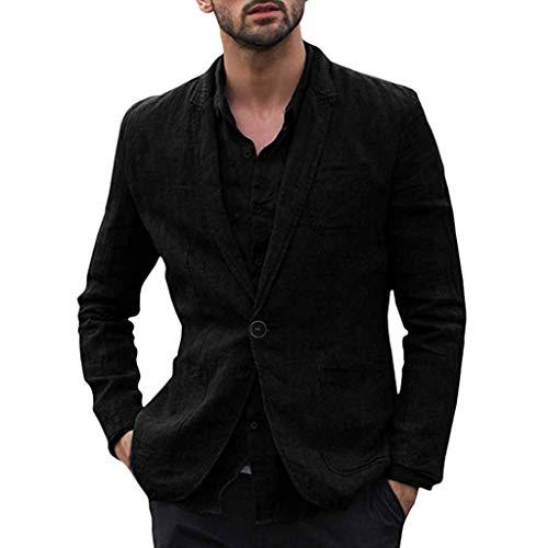 LUCAMORE Mens Casual Linen Tailored Blazer Long Sleeve One Button Lightweight Suit Jacket Sport Coat