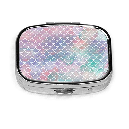 Square Pill Box Medicine Case Pink Rainbow Mermaid Fish Scallop Fashion Pill Organizer Travel Pill Case Dispenser for Vitamins Supplements