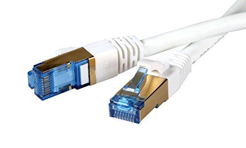 ProfiPatch Patchkabel 10,0m 10 m CAT.6a CAT6a Patchleitung mit CAT7 Rohkabel, 10GigaBit Netzwerk LAN DSL TV Kabel, weiss, weiß, S/FTP, LSZH Halogenfrei mit vergoldeten Steckern, inklusive Meßprotokoll, für 10/100/1000/10000 Base-T Ethernet Netzwerke, Switch, Router, Modem, Patchfeld , Fernseher, Patchpanel und andere Geräte mit RJ45 Anschluß …