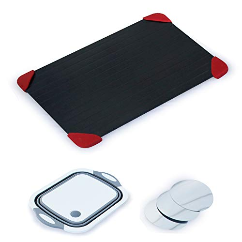 JnH Kitchen Collection Defrosting Tray Set - Large 3mm-Thick Meat Thawing Plate with Silicone Rubber Feet - Safe, Easy to Use - 3-in-1 Veggie Tray, Collapsible Colander, Cutting Board - Wine Discs