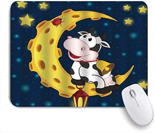 Benutzerdefiniertes Büro Mauspad,Kuh und Marienkäfer auf Mond Sterne Laterne,Anti-slip Rubber Base Gaming Mouse Pad Mat