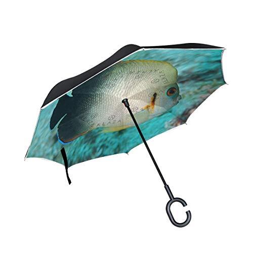 Umgekehrter Regenschirm Pearlscale Angelfish Double Layer Reverse Umbrella für den Auto- und Außenbereich von Windproof UV Protection Big Straight Umbrella mit C-förmigem Griff
