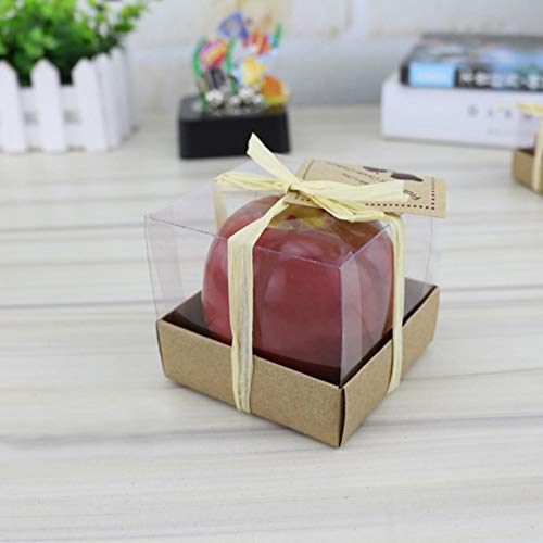 Fruit Candles,Simulation Apple Fancy Christmas Gifts Candle Fragrance Gift for Christmas Eve Birthday Gift Cake Decoration,L Kraft Paper Box