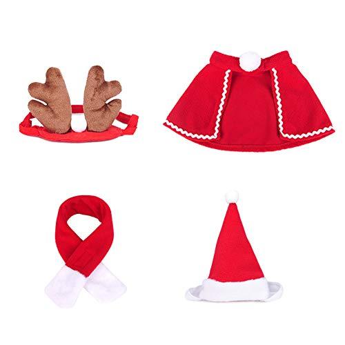 Katze Weihnachtskostüm Outfit 4 Stk. Katze Haustier Hund Kleidung, Rentier Stirnbänder Roter Kostüm Anzug Niedlich Weihnachtsmütze & Schal Niedlich, Lustiger Haustier Hoodie Mantel für kleine Haustier