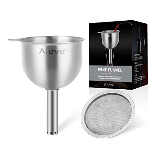 AIEVE Embudo de aireador de vino de acero inoxidable con filtro de sedimentos extraíble para filtrar sedimentos y sólidos de tu vino