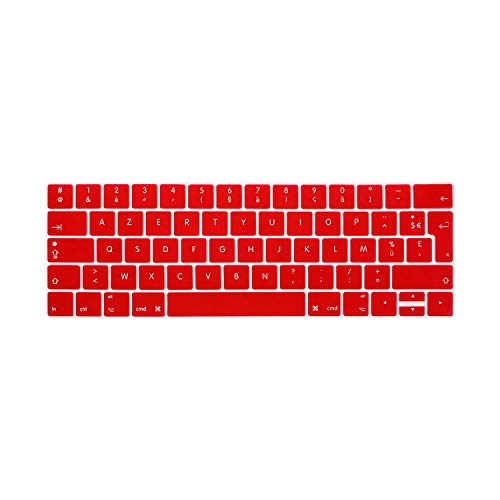 French Language Keyboard Cover Clavier AZERTY pour For for MacBook Pro Retina 13 15 TOUCHBAR 2016 Models A1706 A1707-Red-