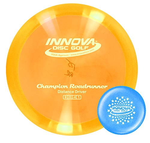 Innova Discs Golf Champion Roadrunner Disc Golf Driver with Limited Edition Stars Stamped Innova Mini – Colors Will Vary (170-172g)