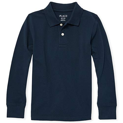 The Children's Place Boys' Little Long Sleeve Uniform Polo, Nautico, Small/5/6