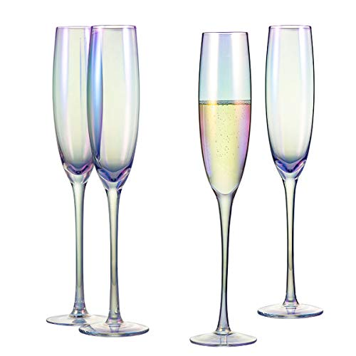 Classic Champagne Flute Glasses 6 oz. Set of 4 Iridescent - Crystal Glass Long Stemmed Glassware Sparkling Wine Glasses - For Wine Tasting, Birthday, Christmas, Anniversary or Wedding Gifts