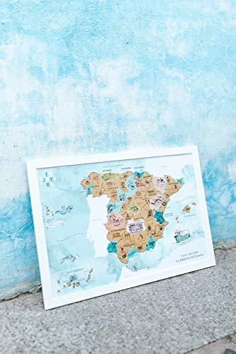 ENJOYERS QUE TE QUITEN LO VIAJAO SINCE 2015 Mapa España para Rascar - Mapa Rascable Esencia de España Ilustrado a Mano - 65x45cm - Pack Lámina + Marco (Blanco)