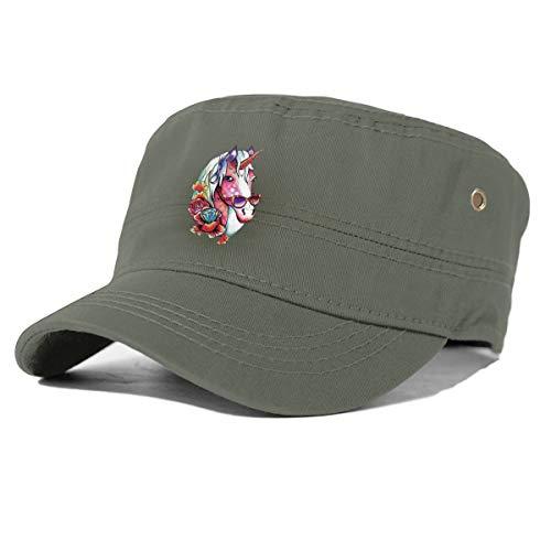 Gjhj Unicornios con gafas de sol de algodón Newsboy Militar Tapa plana plana, Unisex ajustable ejército lavado cadete Cap Verde verde (Moss) Taille unique
