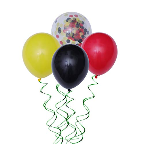 40pcs 12 pulgadas globos de fiesta amarillo negro rojo globos de látex con globo confeti para baby shower fiesta de cumpleaños decoraciones suministros con 2 rollos de cintas