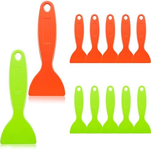 12 Espátula Plástica Cuchillo Masilla Removedor de Burbuja Aire Herramienta Instalar Adhesivo Raspador Pintura Flexible para Limpiar Película Vinilo Resina Impresión 3D (Naranja, Verde)