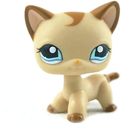 N/N Littlest Pet Shop, LPS Toy Rare Brown Short Hair Cat Kitty Blue Eyes LPS Toy
