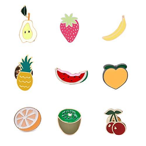 ZSCZQ Wassermelone Kiwi Orange Banane Kirsche Ananas Cartoon Früchte Mode Broschen für Frauen Kinder Jeans Jacken Anstecknadeln Tasche Abzeichen Mango