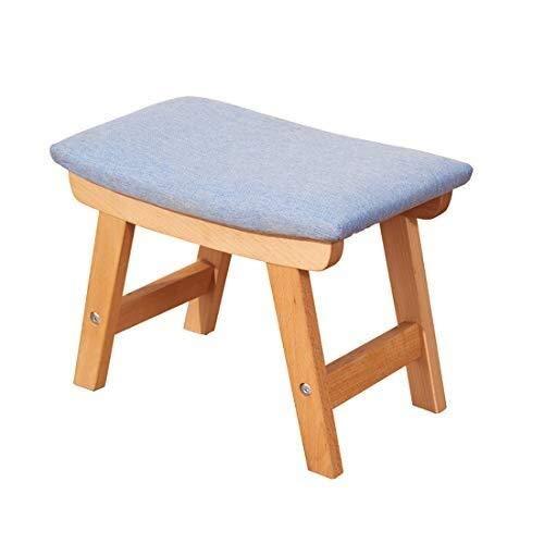 Houten ondersteuning Voetbank stoel Natuurlijke Kleur Kruk Gestoffeerde Concave Seat Oppervlak Gecapitonneerde Bank met Verwijderbare Linnen Blauwe Cover
